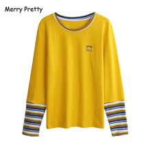 Merry Pretty 2019 autumn long sleeve tshirt women striped patchwork yellow cotton tee top leetr embroidery t-shirt female