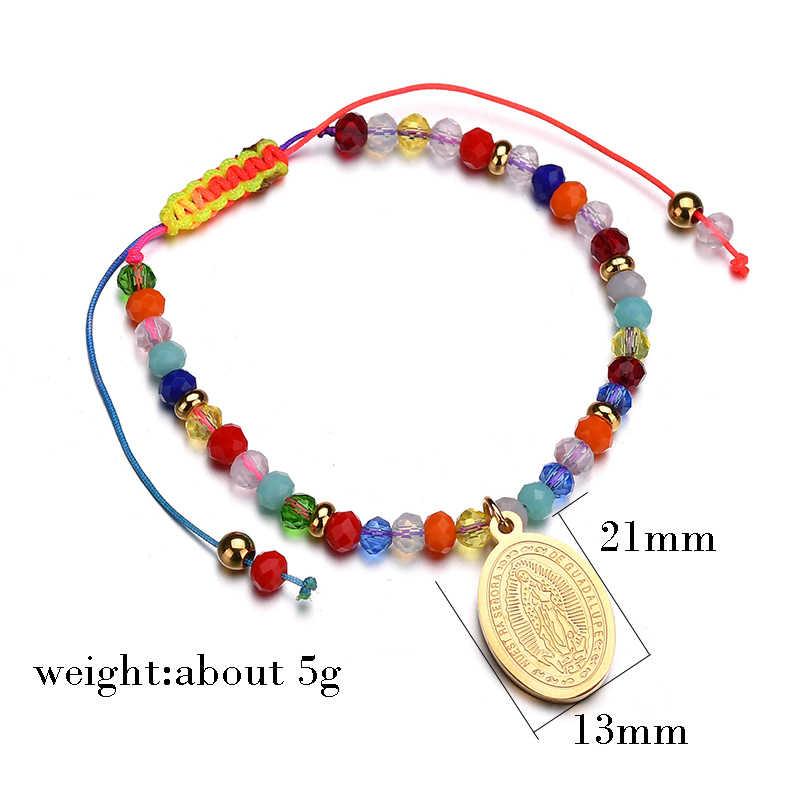 Letdifery Personnalisable Vrigin María medalla cuentas de brazalete cadena colorida pulsera ajustable puede Dropshipping