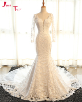Jark Tozr Vestidos De Noiva Sereia Long Sleeve Sequined Appliques Bridal Gowns Ivory Tulle Winter Mermaid