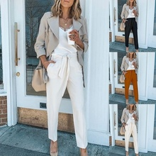 ZOGAA Women Casual Wide Leg Ankle-Length Pants 2019 High Elastic Waist OL Formal Trousers Solid Office Lady Loose Stretch