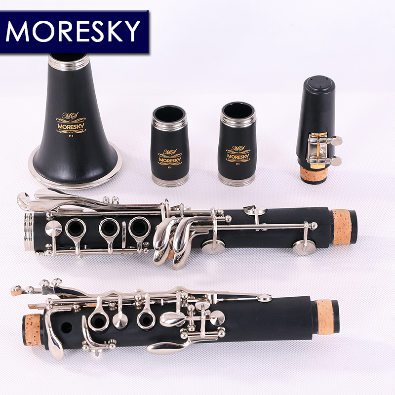 MORESKY Clarinet 17 Key bB Flat ABS pipe body material Soprano Binocular Clarinet with Cork Grease Cleaning Cloth Gloves 10 R