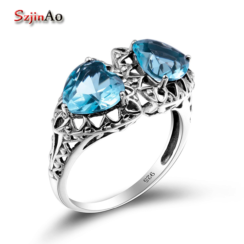 Szjinao Heart Shape Bohemian Rings For Women Austrian Aquamarine Wedding Favors and Gifts Kpop 925 Silver Vintage Jewelry