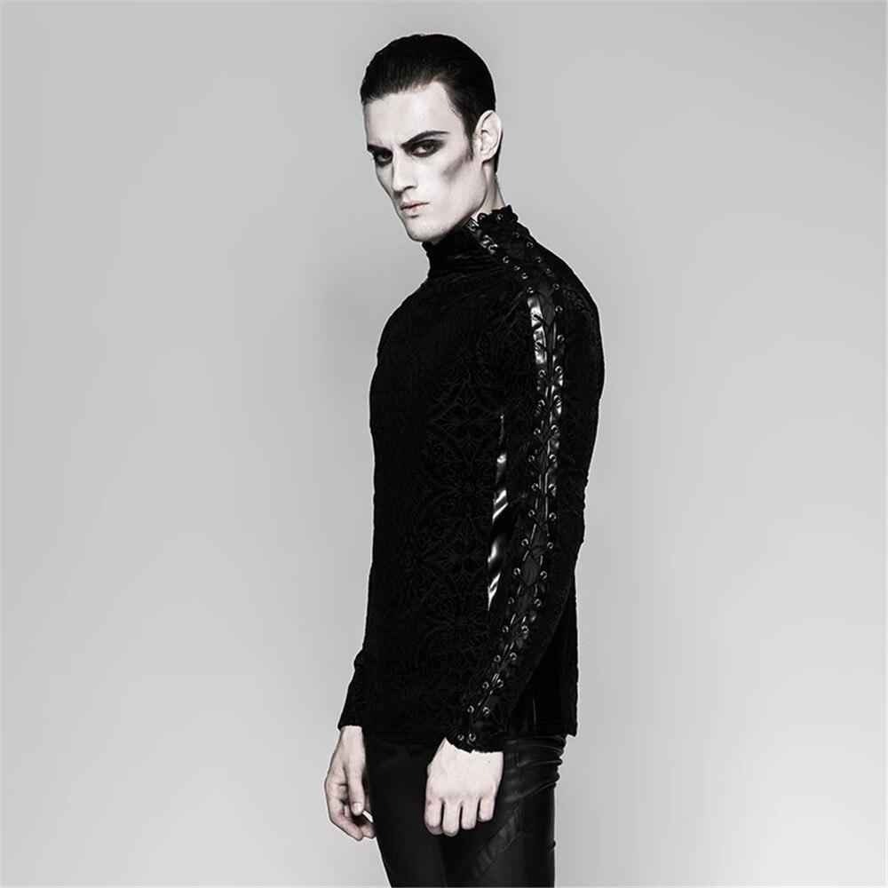 Великолепный готический черный Для мужчин футболка Винтаж плотно, с длинным рукавом плотная футболка стенд воротник Весна футболки - 2
