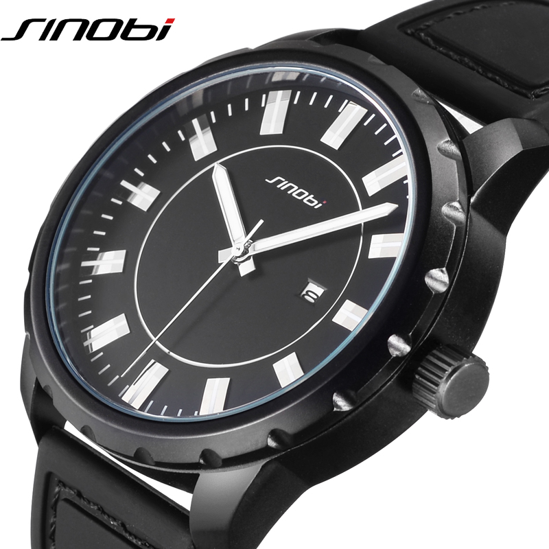 SINOBI Cool Mens Sport Watches Brand Luxury Black Silicone Strap Quartz Watch Waterproof Relojes Hombre 2018 Male Clock #9603 starry sky space watch little star silicone watches kids sport quartz watch luxury brand hot boys girls watches relojes mujer
