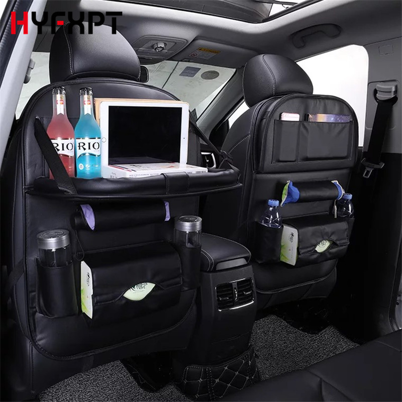 Multifunction Leather Car Seat Cover Back Seat Fold Dining Rack Car Seat Storage Bag Vehicle Storage Box Auto Seat Cushion pillowcase classic style wave pattern car comfy back cushion cover