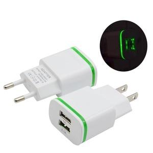 Image 3 - Cargador de teléfono de la UE nos enchufe de 2 puertos del USB de la luz LED cargador 5 V 2A adaptador de pared de carga del teléfono móvil para ios android teléfonos inteligentes