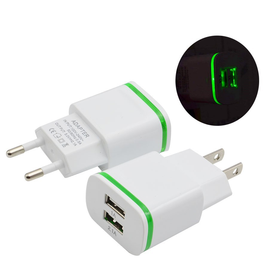 Image 3 - Phone Charger  EU US Plug 2 Ports LED Light USB Charger 5V 2A Wall Adapter Mobile Phone Charging For ios  andriod smart phones-in Mobile Phone Chargers from Cellphones & Telecommunications