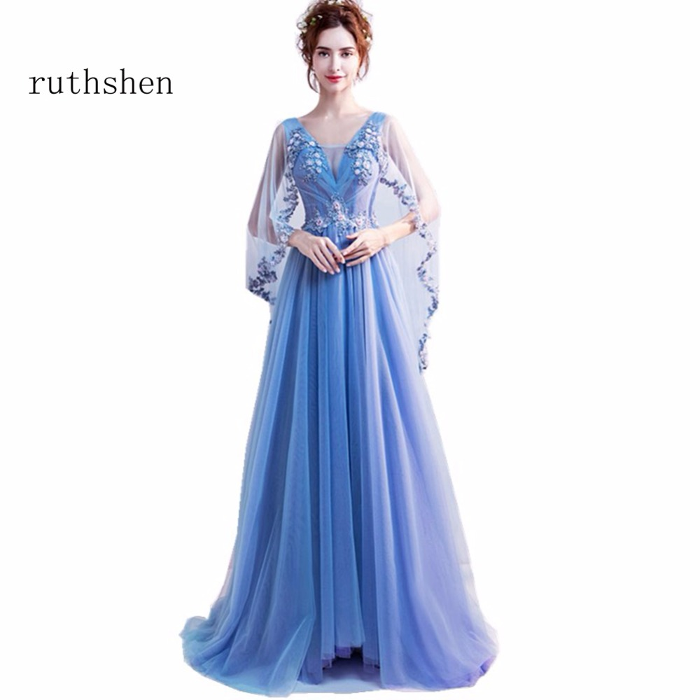ruthshen Baby Blue Vestidos Cute Cheap   Prom     Dresses   With Sexy V Neck Cap Sleeves Appliques Beadings Flowers Special Party Gowns