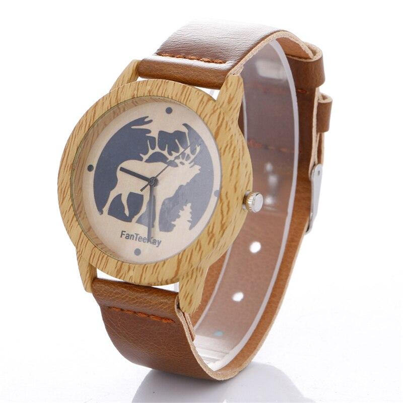 Men Women Quartz Wristwatches Vintage Wooden Bamboo Watches Deer Printed Coffee Black PU Leather Strap Watch Наручные часы