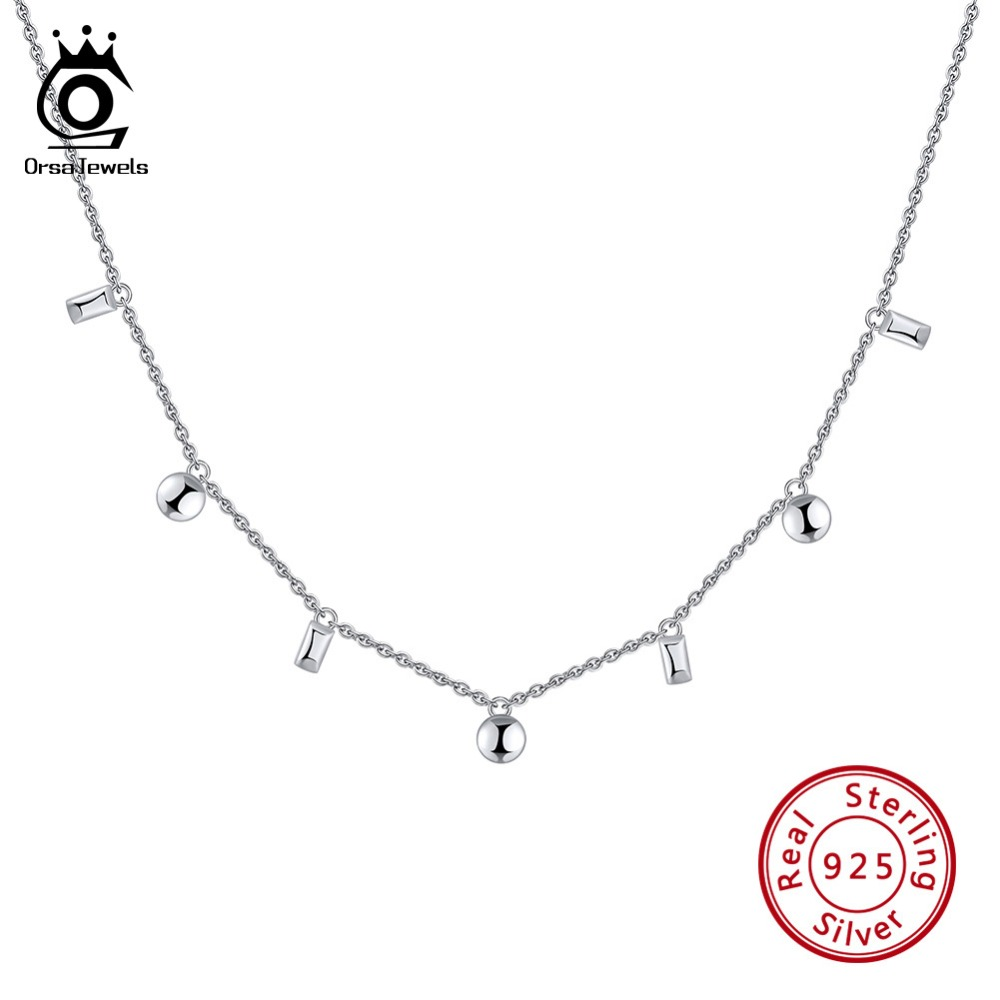 ORSA JEWELS 925 Sterling Silver Girl Choker Necklaces Round Square Shape Pendant 41cm Length Chain Necklace Women Jewelry OSN122ORSA JEWELS 925 Sterling Silver Girl Choker Necklaces Round Square Shape Pendant 41cm Length Chain Necklace Women Jewelry OSN122