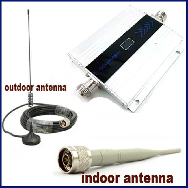 FULL SET GSM DCS Repeater Mobile Cell Phone DCS Booster Dcs1800mhz Amplifier with indoor antenna and 10m cable outdoor antenna