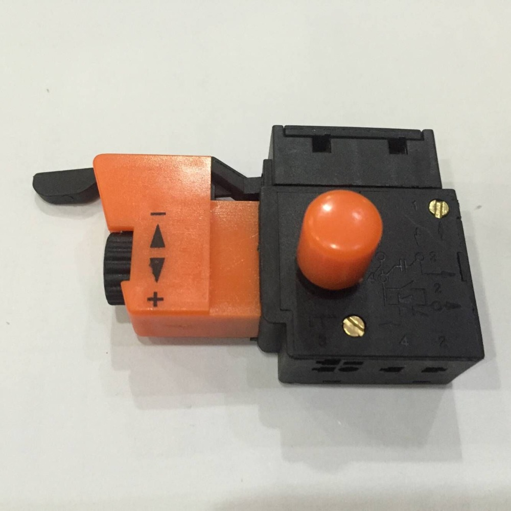 5E4 AC 250V 4A Speed Control Lock On Trigger Switch SPST for Electric Drill fa2 6 1bek spst lock on power tool trigger button switch black