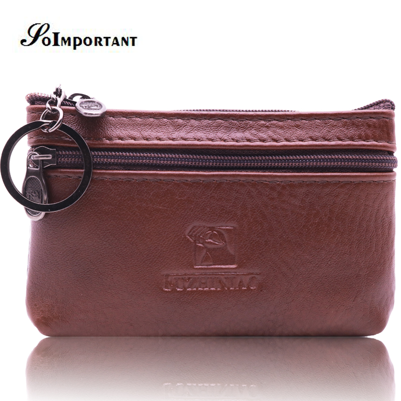 Genuine Leather Coin Purse Women Men Mini Wallets Female Change Purses Coin Pouch Male Zipper Card Holder Magic Walet Key Ring