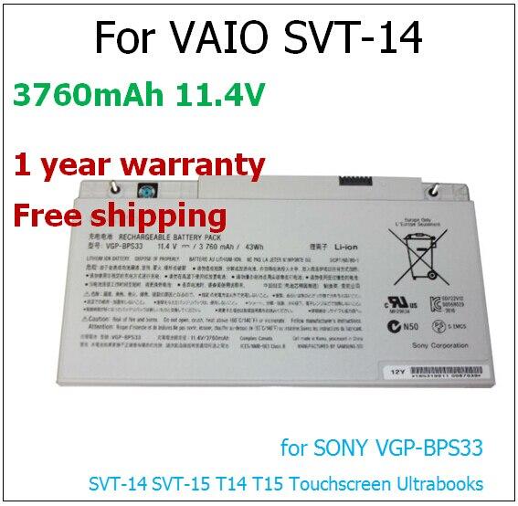 3760mAh laptop battery for sony VGP-BPS33 BPS33 SVT-14 SVT-15 11.4v 3760mah 43wh laptop battery for  VAIO SVT-14 original genuine new vgp bps33 laptop battery for sony vaio svt 14 svt 15 t14 t15 ultrabooks vgp bps33 bps33 11 4v 3760mah