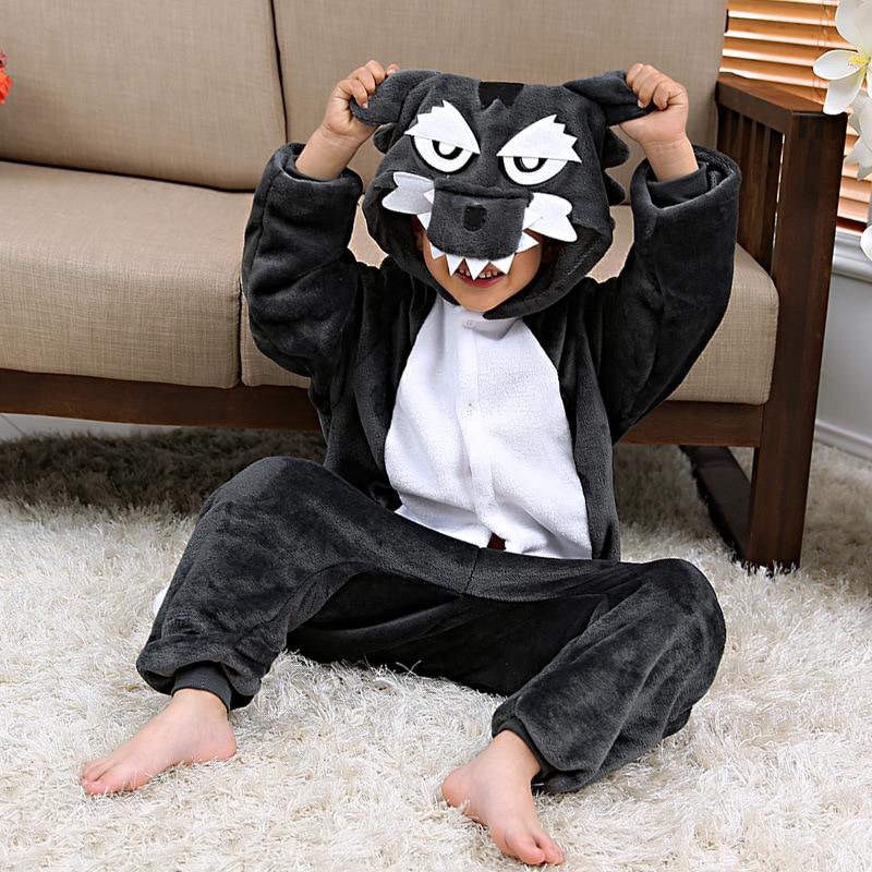 Kids Kigurumi Grey Wolf Hooded Pajama Boys Girls Unisex Cartoon Animal Pajama Flannel Onesie Cosplay Flannel Sleepwear Costumes