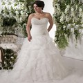2017 Fashion Elegant Organza Bridal Dress Brilliant Beaded Sequins Plus Size Floor-length Wedding Dresses
