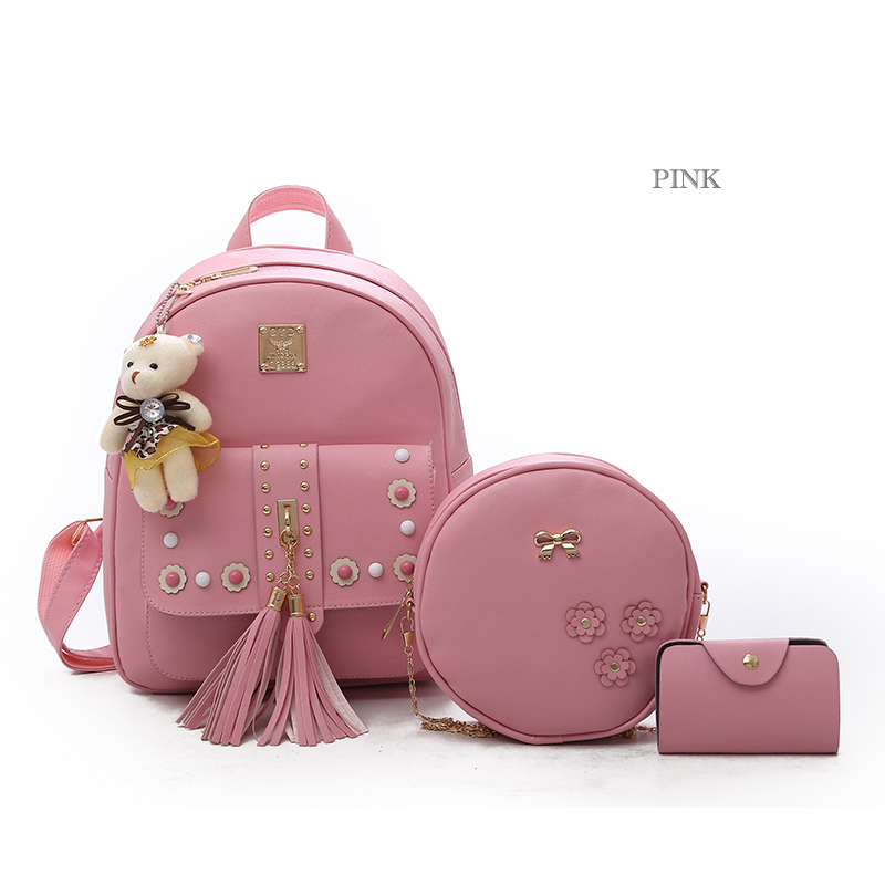 Backpack Female 3 Piece Combination Composite Bag Bear Hanging Inlaid Imitation Diamond Tassel Fashion Casual Shoulder Bag 56