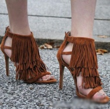 цена Tassel Stiletto Sandals Open Toe Cut Out Fringe Hot Day Gladiator Shoes Woman High Heel Sandals Feminine 2019 Summer Shoes онлайн в 2017 году