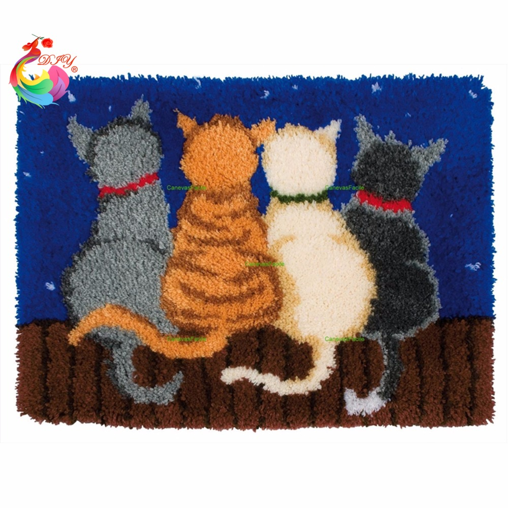 Home Decor Cross-stitch carpet diy embroidery Cartoon Cat Latch hook rug kits Carpet embroidery sets embroidery stitch threadHome Decor Cross-stitch carpet diy embroidery Cartoon Cat Latch hook rug kits Carpet embroidery sets embroidery stitch thread