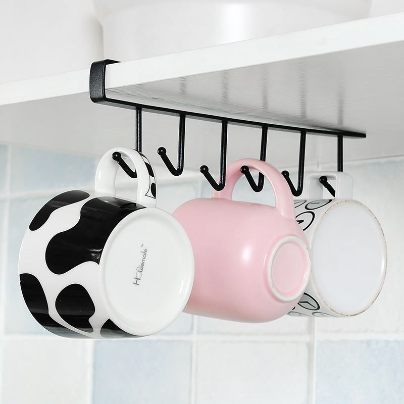 Hot Kitchen Cabinet Storage Rack Multi-function Hook Cup Coffee Organizer Wardrobe Clothes Coat Rack Wardrobe Glass Mug Holder