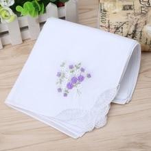 6 шт винтажный хлопковый Женский вышитый кружевной платок носовой платок с цветочным узором