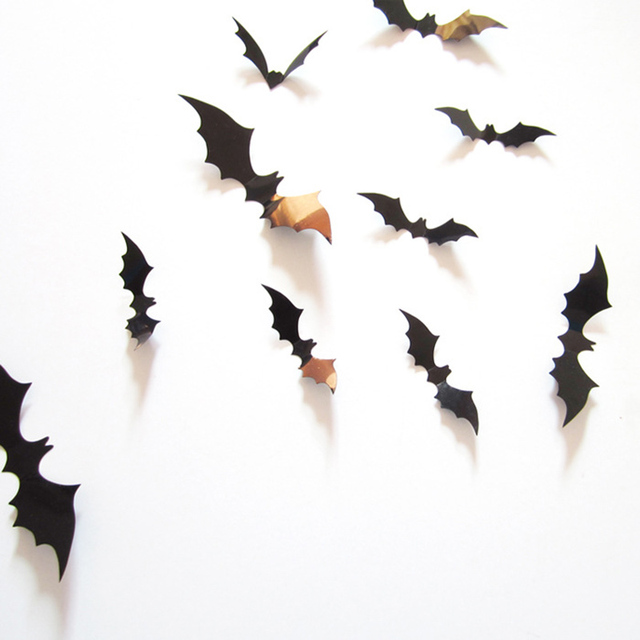 12Pcs DIY Black Bat Wall Sticker All Saintsu0027 Day Halloween Decoration Art Wall Decals 3D  sc 1 st  AliExpress.com & 12Pcs DIY Black Bat Wall Sticker All Saintsu0027 Day Halloween ...