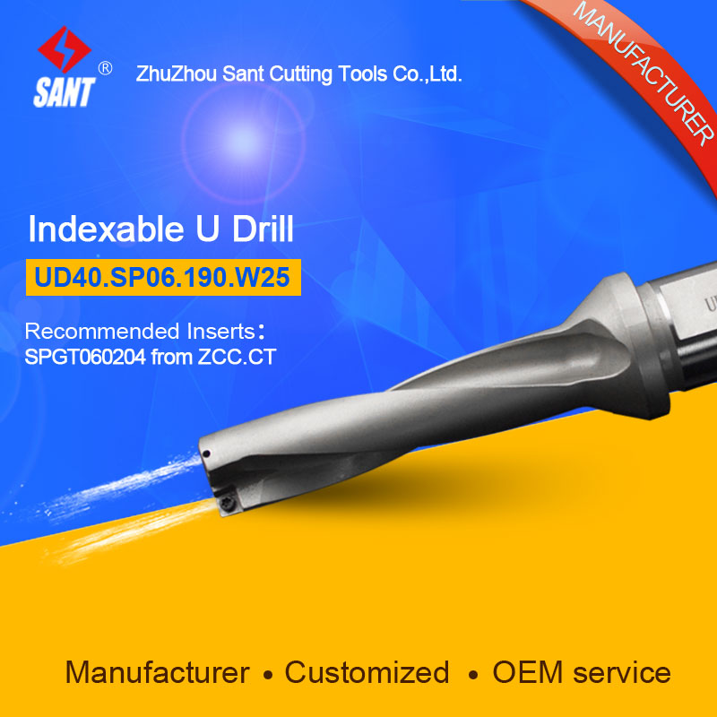 Zhuzhou Sant Indexable Drilling Tools U Drill UD40.SP06.190.W25 Applicable Carbide Inserts SPGT060204 Or SPMG060204 wcmx080412 nn lt30 swiss made lamina original carbide inserts for u drill