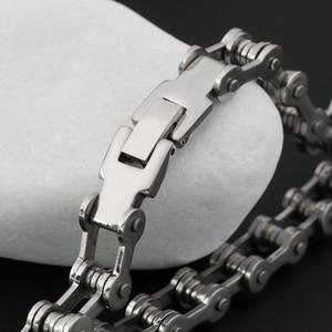 Модный мужской женский Байкерский велосипедный браслет-цепочка для мотоцикла, браслет из титановой стали в стиле панк, мужской браслет