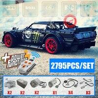 2019 RC Мотор Новый 1965 Ford Mustang Hoonicorn V2 приспособление для автомобиля legoings Technic MOC 22970 FIT 20102 строительный блок кирпичи подарок игрушка для малыша