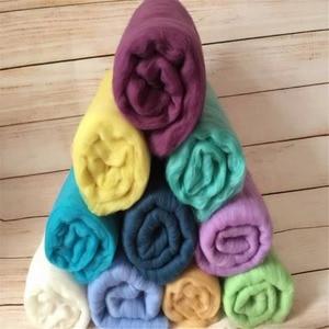 Image 3 - 20 Colors 60*60cm Fluffy Wool Fleece Newborn Blanket Basket Filler Stuffer Newborn Photography Props Super Soft Infant Blankets