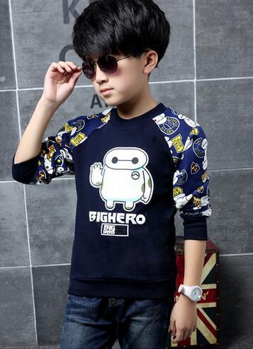Caráter Meninos Roupas de Algodão Macio Tidy Roupas Infantis Menino Assentamento Camisa Completo Manga O-neck Pullover Para O Menino Da Criança