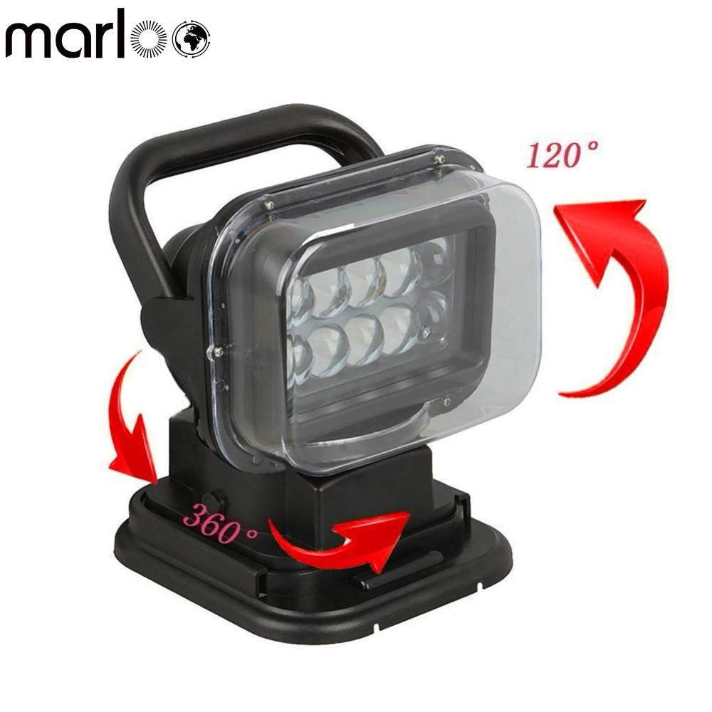 Marloo LED Auto Search Spot Light 50W Wireless Rotating Remote Control Work Light For Car SUV Boat Farm Emergency Lighting atreus 50w 7 led spot light with remote control searching lights for jeep suv truck hunting boat camp lamp bulb car accessories
