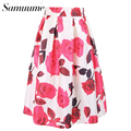 Samuume 2017 Spring Summer Women Rose Floral Print High Waist Pleated Knee-Length Vintage Ball Gown Skirts Female A1412020