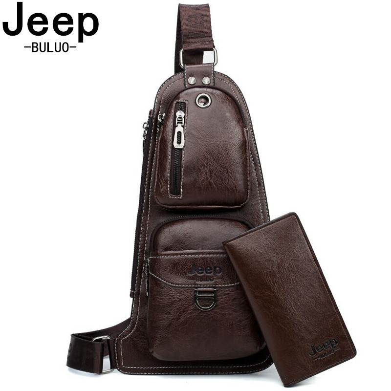 6d86e764e6 JEEP Chest Bags Famous Brand 2pcs Set Man's Leather Sling Bag Fashion Casual  New Hot Crossbody