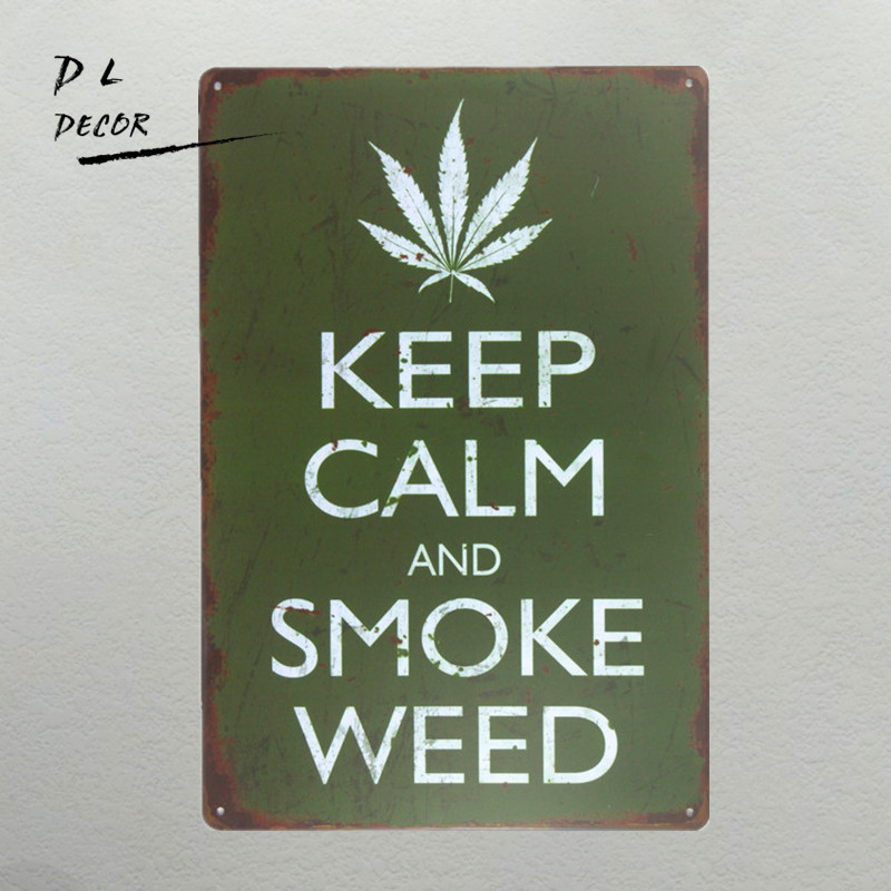 DL-shabby chic Stay Calm Smoke Weed Vintage Style Sign ...