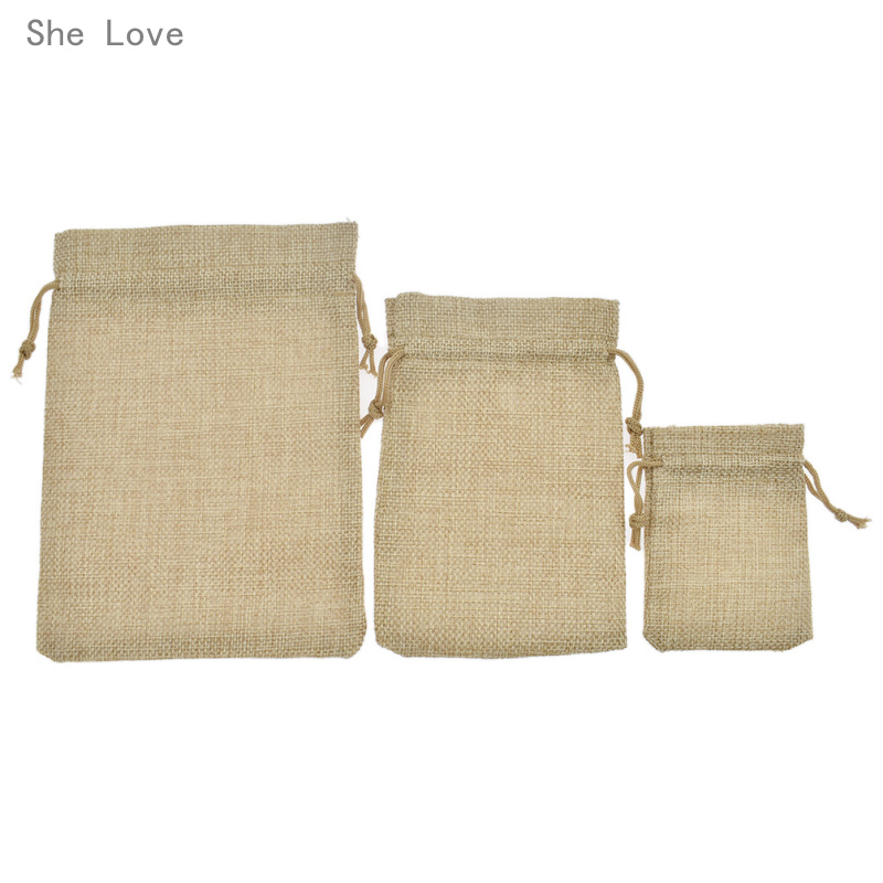 She Love 10pcs Cotton Sacks Jute Gift Bags Natural Burlap Gift Candy Pouch Drawstring Bags for Handmade Storage Wedding Supply ...