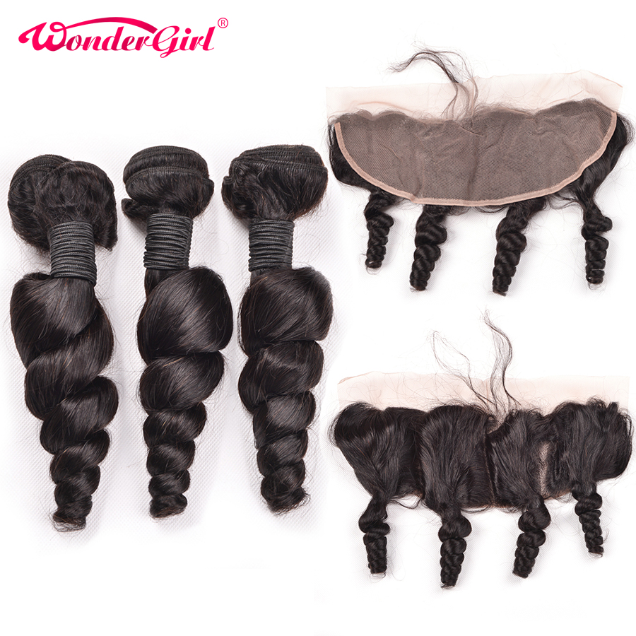 Ear To Ear Lace Frontal Closure With Bundles Brazilian Loose Wave Bundles With Frontal Wonder girl 100% Remy Human Hair Bundles-in 3/4 Bundles with Closure from Hair Extensions & Wigs    1