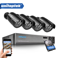 UNITOPTEK 1080N HDMI DVR 1200TVL 720P HD AHD Camera Set Outdoor Home Security Camera System 4CH CCTV Video Surveillance DVR Kit
