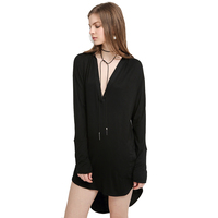 Sexy Deep V Neck Pocket Three Quarter Sleeve Summer Dress Women Front Short Back Long Side Split Casual Loose Dress