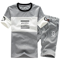 Casual t shirt Suit Men Summer 2016 New Mens Suit Slim Letter t shirt Mens t shirt +Shorts Sets