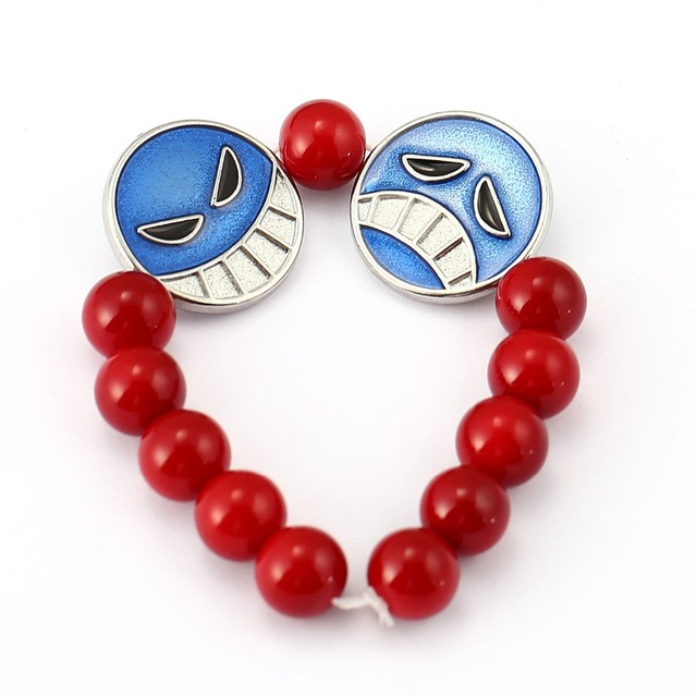 One Piece Ace Red Bead Charm Bracelets & Bangles