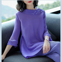 Pleated Spring New 2019 Women Elegant 2 Two Pieces Sets Large Size Flare Sleeve Beading Tops and Mid calf Pant Set Suits