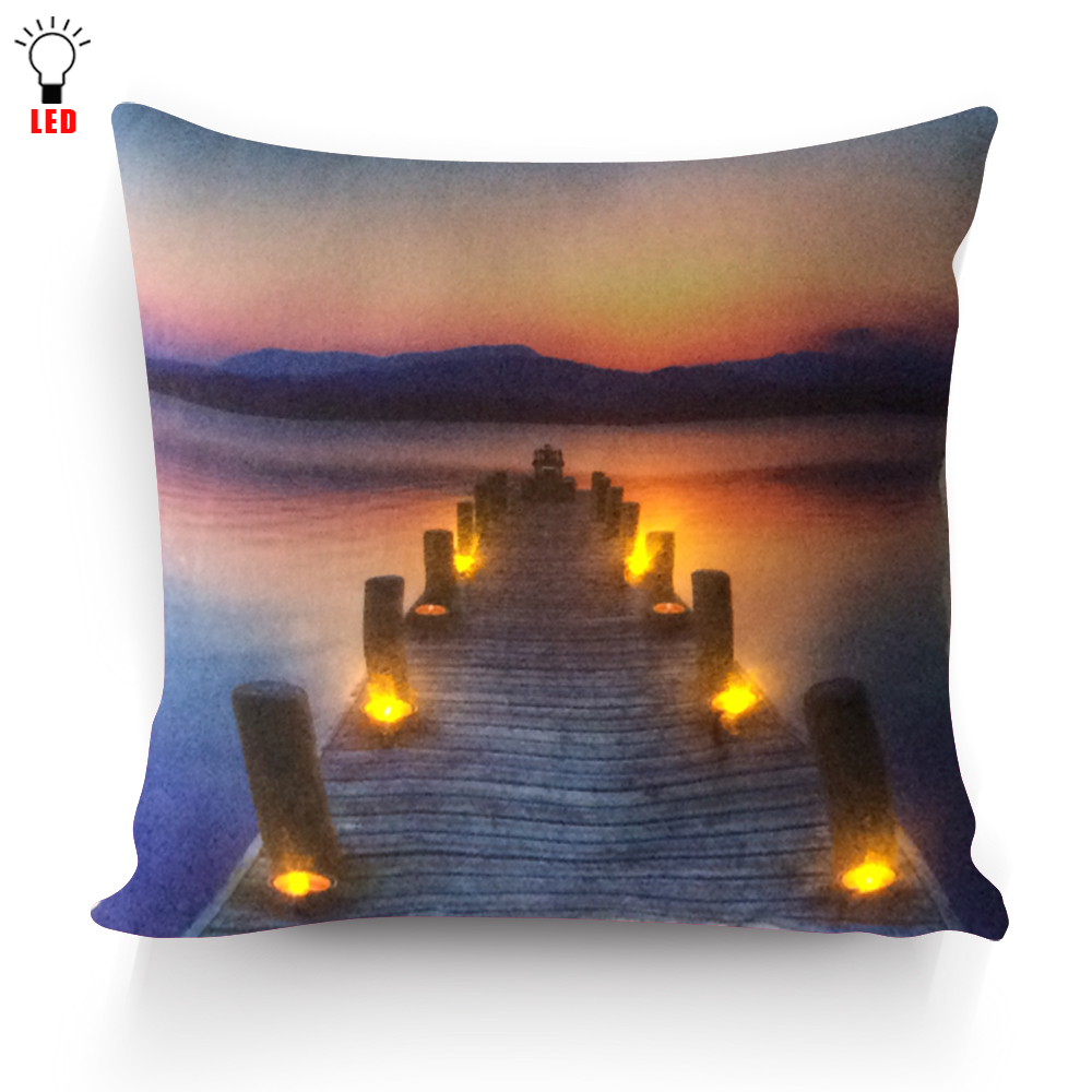 Hight Quality Flicking Led Cushion Cover Pier With Candles Light Up Pillow For Home Sofa Seat