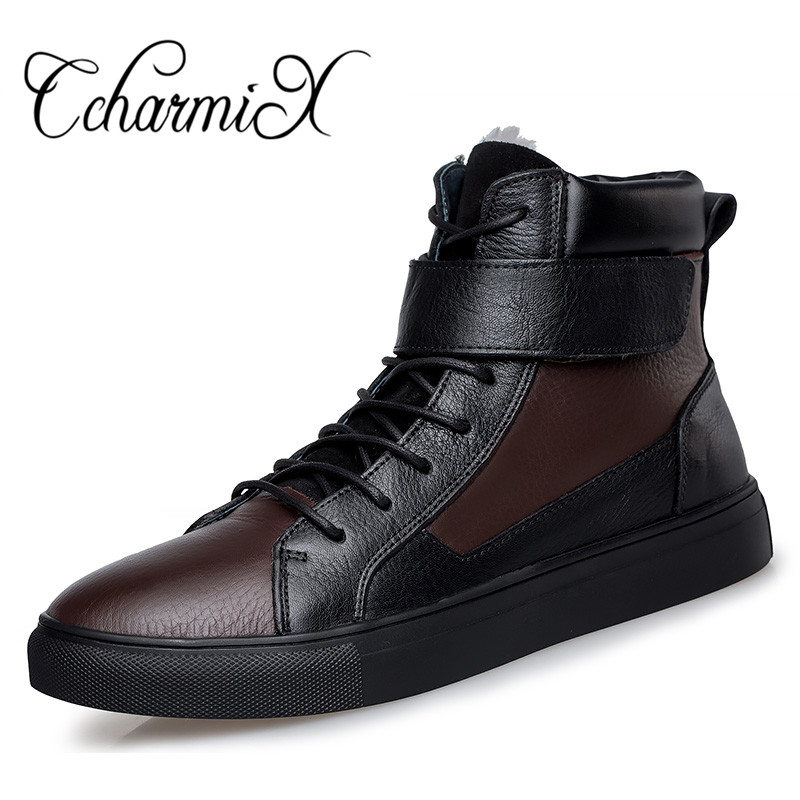 CcharmiX Winter Russian Style Men Warmest Boots Top Quality Natural Leather Snow Botas Genuine Leather Motorcycle Boot Big Size warmest genuine leather snow boots size 37 50 brand russian style men winter shoes 8815