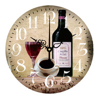Creative Retro Wall Clock Home Decoration Mute Quartz Cup Red Wine Glass New Design Wooden Painting