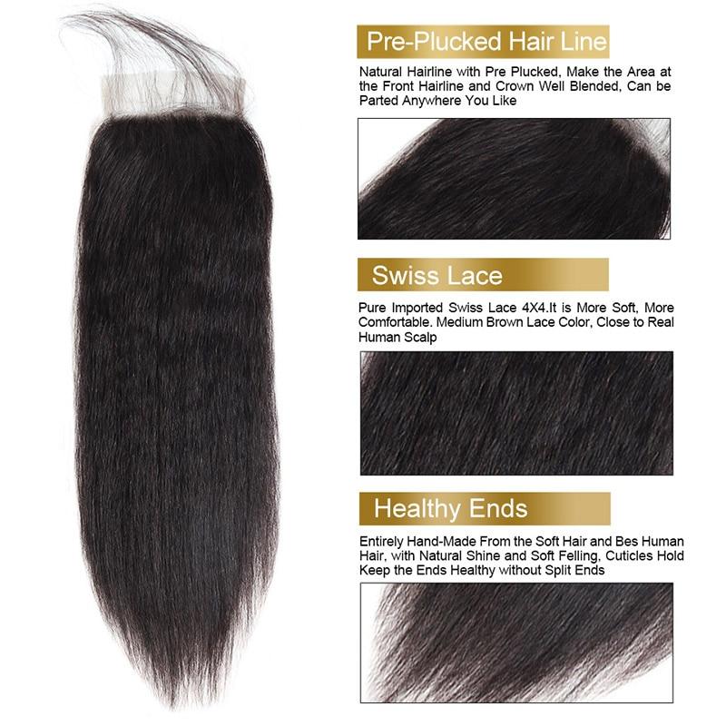 Kinky Straight Hair Bundles With Closure Brazilian Hair Weave Bundles With Closure Funmi Virgin Human Hair Bundles with Closure