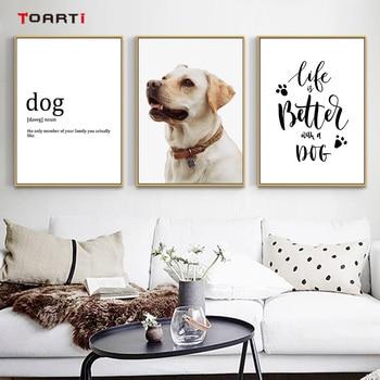 Pared de fotos colorida de perro encantador, arte de animales nórdicos y citas, pintura moderna realista, pósteres y impresiones Vintage, decoración para sala de estar