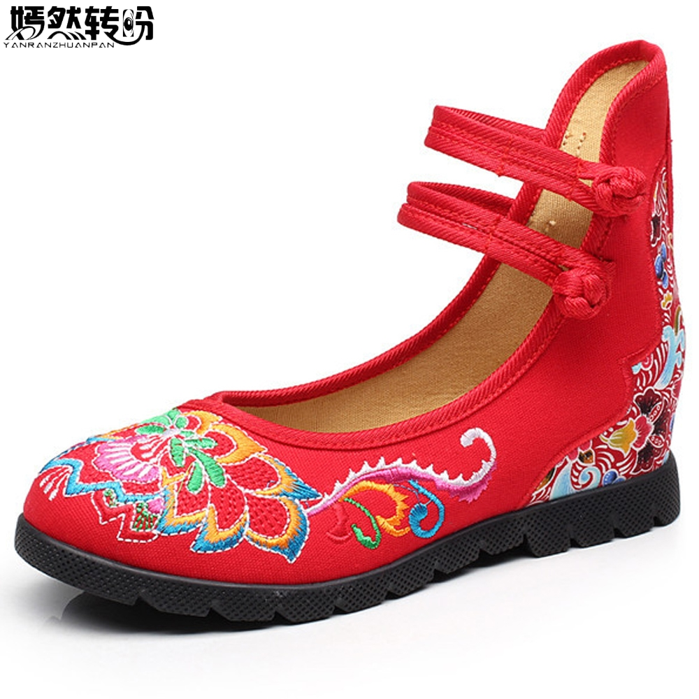 Vintage Women Shoes Floral Embroidered Cotton Cloth Flat Ankle Buckles Embroidery Canvas Dance Ballet Platforms Zapatos Mujer chinese women flats shoes flowers casual embroidery soft sole cloth dance ballet flat shoes woman breathable zapatos mujer