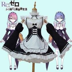 Аниме Re: zero Kara Hajimeru Isekai Seikatsu Life In a Different World Ram Rem косплей костюм платье служанки для Хэллоуин костюм