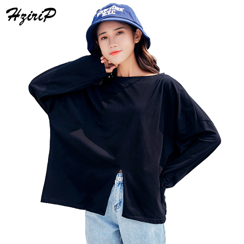 HziriP New Arrivel Women Hoodies 2018 Streetwear Basic Tops Long Sleeve Split Solid Black Loose Oversize Thin Sweatshirt Girls